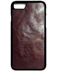 Huitcinq 1988 - Dark Brown Oiled Calfskin Leather Iphone 8 Case - Lyst