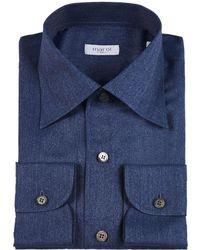 Marol - Navy Convertible Collar Denim Shirt - Lyst