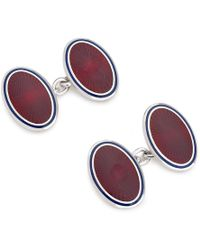 Budd Shirtmakers Red Enamel And Silver Starburst Cufflinks