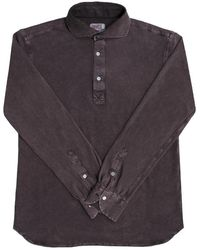 Naked Clothing - Brown Long Sleeve Pique Acid Washed Cotton Polo Shirt - Lyst