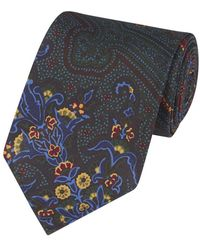 Drake's - Green, Blue And Gold Silk Patterned Tie - Lyst