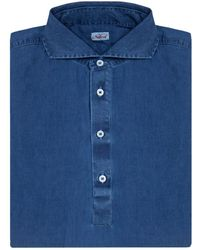 Naked Clothing - Royal Blue Long Sleeve Stone Washed Denim Polo Shirt - Lyst