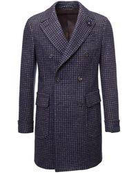 Lardini   Blue And Brown Houndstooth Double-breasted Wool Overcoat   Lyst
