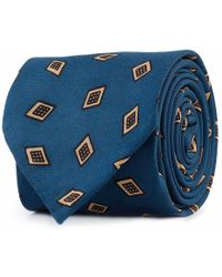 Rubinacci - Blue And Cream Frame Silk Tie - Lyst
