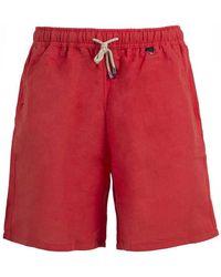 Rubinacci - Red Linen And Cotton Swim Shorts - Lyst