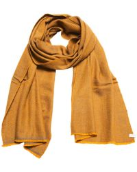 Anderson & Sheppard - Gold And Grey Birdseye Weave Cashmere Scarf - Lyst