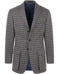New & Lingwood - Blue And Brown Hacking Check Clophill Single Breasted Jacket - Lyst