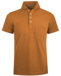 Naked Clothing - Orange Cotton Blend Polo Shirt - Lyst