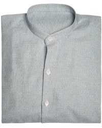 Anderson & Sheppard - Grey Collarless Puppytooth Cotton And Cashmere Shirt - Lyst