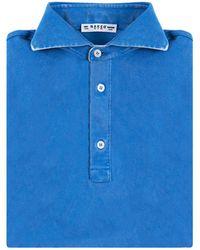 Naked Clothing | Blue Short Sleeve Pique Acid Washed Cotton Polo Shirt | Lyst