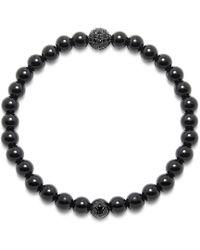 Nialaya - Agate, Cz Diamond And Titanium Wristband - Lyst