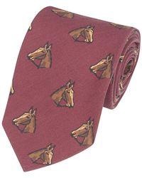 Drake's - Red Silk Horse Print Tie - Lyst