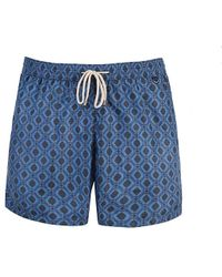 Rubinacci - Navy Foulard Print Swimming Shorts - Lyst