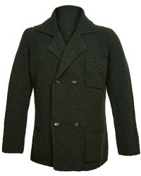 Anderson & Sheppard - Dark Green Double Breasted Merino And Cashmere Jacket - Lyst