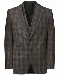 Cifonelli - Grey Wool And Cashmere Windowpane Check Three Piece Suit - Lyst