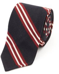 Salvatore Piccolo - Navy And Red Regimental Stripe Silk And Cotton Tie - Lyst