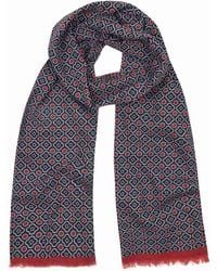 Anderson & Sheppard - Navy And Red Tubular Cotton Mosaic Scarf - Lyst