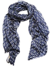 Anderson & Sheppard - Dark Blue Printed Floral Silk And Cashmere Scarf - Lyst