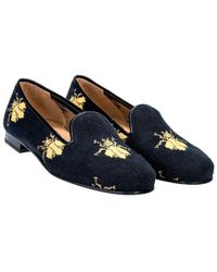 Stubbs & Wootton - Black Bee Needlepoint Cotton Slippers - Lyst