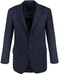 Ring Jacket - Navy Check Calm Twist Wool Suit - Lyst