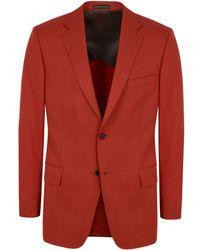 New & Lingwood - Orange Clark Wool Flannel Single-breasted Jacket - Lyst