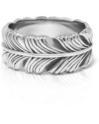 Nialaya - Vintage Silver-finished Stainless Steel Feather Ring - Lyst