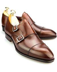 Carmina - Brown Vegano Leather Double Monk Straps - Lyst
