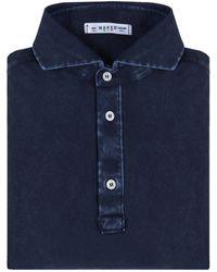 Naked Clothing - Navy Short Sleeve Pique Acid Washed Cotton Polo Shirt - Lyst