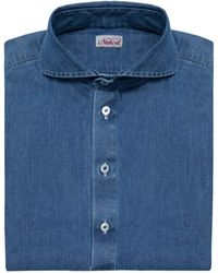 Naked Clothing - Blue Long Sleeve Stone Washed Denim Polo Shirt - Lyst
