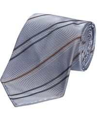 Fumagalli 1891 - Light Blue Navy And White Stripe Malibu Silk 5-fold Tie - Lyst
