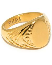 Nialaya - 18k Gold-finished Stainless Steel Signet Ring - Lyst