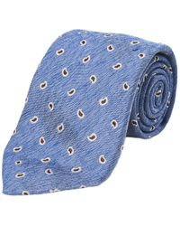 Calabrese 1924 - Light Blue And Brown Paisley Silk And Linen Tie - Lyst