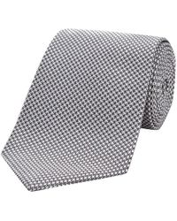 Turnbull & Asser - Grey Houndstooth Silk Tie - Lyst