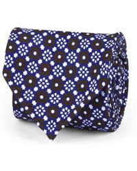 Rubinacci - Blue, White And Brown Floral Silk Tie - Lyst