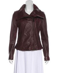 MICHAEL Michael Kors - Michael Kors Lightweight Leather Jacket Burgundy - Lyst