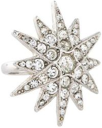 Kenneth Jay Lane - Pave Star Ring Silver - Lyst