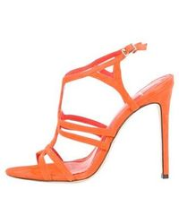 160e1d23ee1 Lyst - Brian Atwood Suede Caged Sandals Orange in Orange