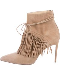 Bionda Castana - Suede Fringe-trimmed Booties Tan - Lyst