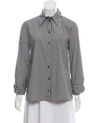 Michael Kors - Striped Button-up Top Grey - Lyst