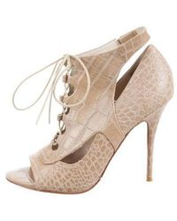 Elizabeth and James - Embossed Lace-up Booties Beige - Lyst