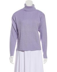 Halston - Cable Knit Sweater - Lyst