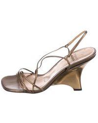 Stuart Weitzman - Converge Leather Wedges Bronze - Lyst