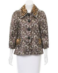 Marc Jacobs - Ponyhair-trimmed Brocade Jacket W/ Tags Plum - Lyst