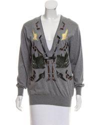Toga Pulla - Embellished V-neck Knit Top Grey - Lyst