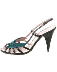 Boutique Moschino - Suede-accented Patent Leather Sandals - Lyst
