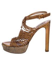 20883047ebf Lyst - Miu Miu Miu Platform Sandals in Metallic
