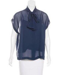 R/R Studio - Silk Short Sleeve Blouse Navy - Lyst