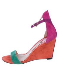 B Brian Atwood - Suede Wedge Sandals - Lyst