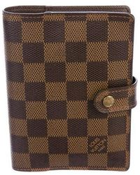 876c475255fd Lyst - Louis Vuitton Damier Ebene Small Ring Agenda Cover Brown in ...