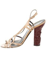 446fb60e4a44 Lyst - Chanel Patent Leather   Pvc Sandals Nude in Natural